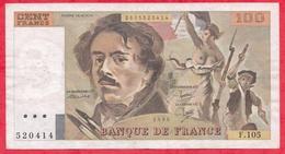 """100 Francs """"Delacroix"""" 1986---VF/SUP---Série F.105 - 1962-1997 ''Francs''"""