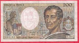 "200 Francs ""Montesquieu"" 1981---F/TTB+---Série Y.007 - 1962-1997 ''Francs''"