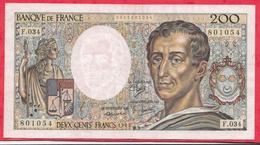"""200 Francs """"Montesquieu"""" 1985---VF/SUP---Série F.034 - 1962-1997 ''Francs''"""