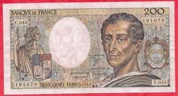 """200 Francs """"Montesquieu"""" 1985---VF/SUP---Série Y.043 - 1962-1997 ''Francs''"""