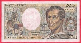 """200 Francs """"Montesquieu"""" 1987---XF/SUP+---Série H.049-AUCUN TROU D EPINGLE-CRAQUANT-BEAU BILLET - 1962-1997 ''Francs''"""