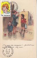 """POULBOT  Carte Avec Timbre """"  T'as Peur Des Araignées...."""" - Poulbot, F."""