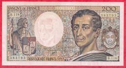 """200 Francs """"Montesquieu"""" 1992---AU/SPL---Série B.118-AUCUN TROU D EPINGLE -CRAQUANT TRES BEAU BILLET - 1962-1997 ''Francs''"""