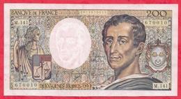 """200 Francs """"Montesquieu"""" 1992---XF/SUP+---Série M.141-AUCUN TROU D EPINGLE -CRAQUANT-  BEAU BILLET - 1962-1997 ''Francs''"""