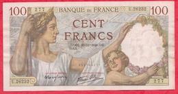 """100 Francs """"Sully"""" Du 20/11/1941.OZ ----VF/SUP-Série U.26232--AUCUN TROU D EPINGLE - 1871-1952 Anciens Francs Circulés Au XXème"""