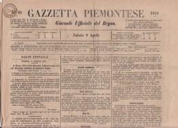 "S1011 -  9 Aprile 1859 - GAZZETTA PIEMONTESE - Con Bollo ""SPEDIZ. GAZZ. MILANO""  In Arrivo  Leggi... - Sardinia"