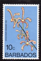 BARBADOS - 1977 10c ORCHID STAMP WMK W14 UPRIGHT FINE MNH ** SG 515 - Barbades (1966-...)