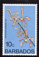 BARBADOS - 1977 10c ORCHID STAMP WMK W14 UPRIGHT FINE MNH ** SG 515 - Barbados (1966-...)