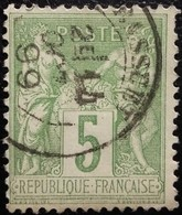France N°106 Sage 5c. Vert-jaune. Oblitéré. - 1876-1898 Sage (Type II)
