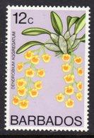 BARBADOS - 1977 12c ORCHID STAMP WMK W14 UPRIGHT FINE MNH ** SG 516 - Barbados (1966-...)