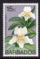 BARBADOS - 1975 15c ORCHID STAMP WMK W14 UPRIGHT FINE MNH ** SG 517 - Barbados (1966-...)