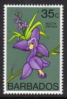 BARBADOS - 1976 35c ORCHID STAMP WMK W12 UPRIGHT FINE MNH ** SG 550 - Barbades (1966-...)