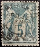 FRANCE 1876 Y&T N°75 Sage 5c Vert Oblitéré - 1876-1898 Sage (Type II)