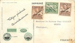 MALTE - CP VOYAGEE EN 1951 - TIMBRE De 1938/43 SURCHARGES - N° 202 (x 2) & N° 203 - Malte