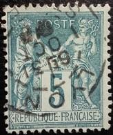 FRANCE 1876 Y&T N°75 Sage 5c Vert. Oblitéré Lyon - 1876-1898 Sage (Type II)