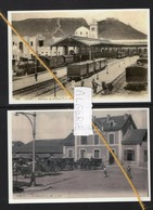 2 REPRODUCTIONS  ALGERIE ORAN  GARE PLM STATION BAHNHOF TRAIN TREIN - Gares - Avec Trains