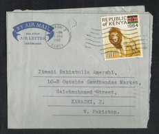 Kenya 1965 Air Mail Postal Used Aerogramme Cover Kenya To Pakistan  Lion Animal - Kenya (1963-...)