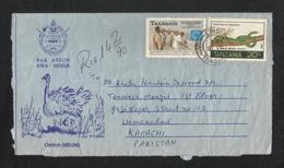 Tanzania Air Mail Postal Used Aerogramme Cover Tanzania To Pakistan President  National Bank Snake Animal - Tanzanie (1964-...)