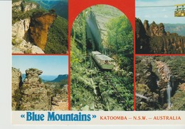 CPA - PHOTO - BLUE MOUNTAINS - KATOOMBA - MULTIVUES - HANGING ROCK - SKYWAY WITH THREE SISTERS - BOAR'S HEAD - WENTWORTH - Australie