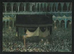 Saudi Arabia Silver Golden Shining Picture Postcard Holy Kaaba Mecca Mosque View Card - Arabie Saoudite