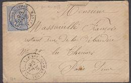 FRANCIA - FRANCE - 1876 - Yvert 78 Obliterato, Su Piccola Busta Con Timbro Del 30/10/1876, Ufficio Di La Capelle-Marival - Marcophilie (Lettres)