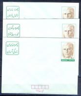 X17- Three Different Slogans Of Pakistan Postal Stationery Rs.2 Envelope Quaid-e-Azam Muhammad Ali Jinnah. - Pakistan