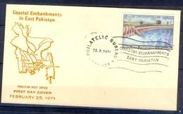 X46- Pakistan 1971. Coastal Embankments In East Pakistan. Map. Dame. Tree. - Pakistan