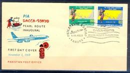 X47- Pakistan 1969. PIA Dacca To Tokyo Pearl Route Inaugural. Aeroplane. Ship. - Pakistan