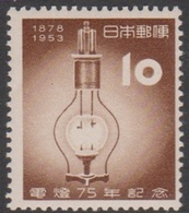 Japan SG701 1953 75th Anniversary Of Electric Lamp, Mint Hinged - 1926-89 Keizer Hirohito (Showa-tijdperk)
