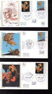 """"""" FRANCE - ALLEMAGNE : MAX ERNST """" SIGNE Sur 3 Enveloppes 1er Jour De 1991 (par H. SAINSON) N° YT 2727 + Allemagne 1401 - Emissions Communes"""
