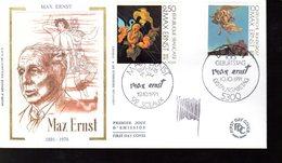 """"""" FRANCE - ALLEMAGNE : MAX ERNST """" SIGNE Sur Enveloppe 1er Jour De 1991 (par H. SAINSON) N° YT 2727 + Allemagne 1401 - Emissions Communes"""