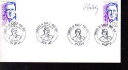 """"""" DE GAULLE  """" SIGNE Sur Enveloppe 1er Jour FERMEE  De 1990 (par H. SAINSON) N° YT 2634. - De Gaulle (Général)"""
