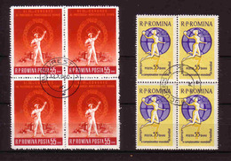 447a * RUMÄNIEN * 8 DIVERSE IM VIERERBLOCK * GESTEMPELT **!! - 1948-.... Republiken
