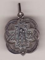 Ancienne Médaille Religieuse N D DE FOURVIERE Vierge Métal Argent 3 PHOTOS Haut 24 (TTB état) - Pendentifs