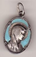 Ancienne Médaille Religieuse LOURDE Vierge émail Métal Argent ? 3 PHOTOS Haut 25 (TTB état) - Pendentifs
