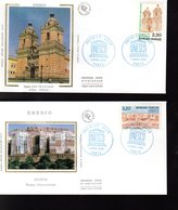 """ UNESCO 1990 : EGLISE SAN FRANCISCO DU PEROU / SHIBAM AU YEMEN "" Sur 2 Enveloppes 1er Jour. N° YT SERV 102 103 - UNESCO"