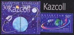"""Kazakhstan 1998. Cosmonautics Day. """"Apollo 8"""", """"Vostok 6"""". Space - Space"""