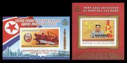 North Korea 2018 Mih. 6452B/53B (Bl.967B/68B) New Year Address (I). Kim Jong Un. Rockets. Trucks. Arms (imperf) MNH ** - Corée Du Nord