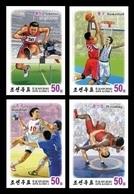 North Korea 2018 Mih. 6487B/90B Sport. Athletics. Basketball. Handball. Wrestling (with 3D-effect) (imperf) MNH ** - Corée Du Nord