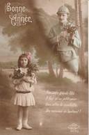 Rare Cpa Fantaisie Poilu Et Petite Fille Bonne Année - 1914-18