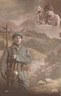 Rare Cpa Fantaisie Poilu En Arme  Et Femme Bonne Année - 1914-18
