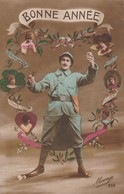 Rare Cpa Fantaisie Poilu Avec Casque   Bonne Année - 1914-18