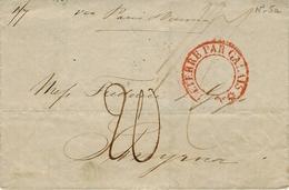"""1837- Lettre De LONDRES Pour Smyrne ( Turquie ) Entrée Cachet """" ANGLETERRE PAR CALAIS """"rouge évidé - 1801-1848: Precursors XIX"""