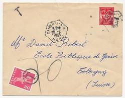 """Enveloppe Affr. FM Rouge - Cachet Hexagonal """"Cambrai-Air (Nord) - 1963 - Taxée En Suisse - Franchise Militaire (timbres)"""