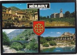 """CPM . MULTIVUES  """"   L'HERAULT   """"  .  CARTE AFFR AU VERSO LE 14-10-1991 - Frankrijk"""