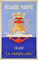 """France Navigation Postcard MM """"La Marseillaise"""" 1949 - Reproduction - Pubblicitari"""