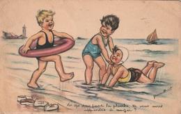 Cpa Fantaisie Illustrée Par Germaine Bouret - Enfants à La Plage - Bouret, Germaine