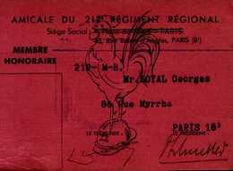 AMICALE DU212e REGIMENT REGIONAL....MEMBRE HONORAIRE  1946 - Cartes