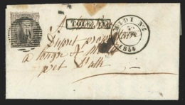 L Affr N°6 Ambulant MIV MIDI N°4/1854 + Griffe TOURNAY Pour Ath - 1851-1857 Médaillons (6/8)