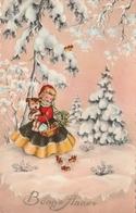 Carte Postale Ancienne Des Années 50-60 Fantaisie - Fillette - Chien - Bonne Année - Nouvel An